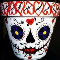 DiY Dai De la MuerteHand Painted Decorative Clay Pot  Dia De Los Muertos Day Of The Dead 6 Inch OOAK