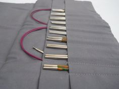INTERCHANGEABLE NEEDLE CASE-knitting needle by TheOrganizedKnitter Knitting Needle Storage, Knitting Needles, Grey Fabric, Cotton Fabric, Organize Fabric, Other Accessories, Pouch, Cases, Gray