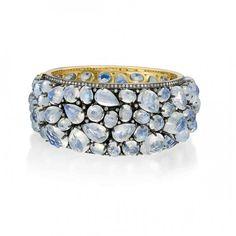 Moonstone pink Cuff bangle with diamonds by Rina Limor