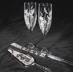 Orchid Wedding Set, Champagne Flutes, Cake Server Set, Dragonfly, Garden Themed Wedding