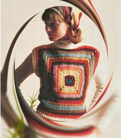 Crochet TOP Pattern Vintage 70s Granny Square Top by Liloumariposa