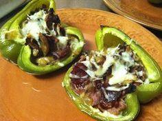 Footeprints: Good Eats: Philly Cheesesteak Stuffed Bell Peppers