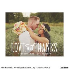 Just Married   Wedding Thank You Postcard