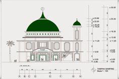 Masjid 2 Lantai Ukuran 28 m x 34 m dengan 1 Menara   Home Design and Ideas