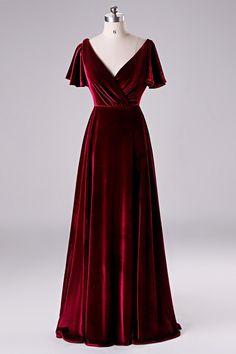 Bridesmaid Dresses Under 100, Velvet Bridesmaid Dresses, Ball Gown Dresses, Prom Dresses, Red Velvet Dress, Winter Dresses, Beautiful Gowns, Pretty Dresses, Designer Dresses