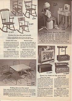 Vintage Montgomery Ward catalog page, toys