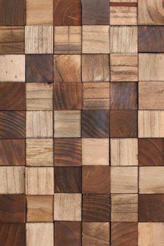 Wooden Mosaic Wall Art DIY - A Beautiful Mess - water based stain one per child? Wood Wall Decor, Wooden Wall Art, Diy Wall Art, Wood Mosaic, Mosaic Wall Art, Reclaimed Wood Art, Diy Wood, Wooden Textures, Wood Blocks