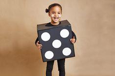 Cardboard Box costumes: dice, rubik's cube, crayon box, juice box, etc.