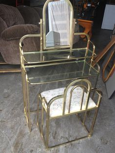 Brass & Glass Vanity Table with Mirror & Matching Bench- maybe change the brass to a different color
