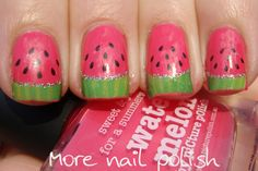Watermelon nail art using decals