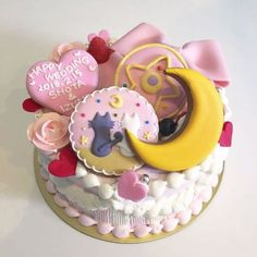 A cake that brings a big happy smile - the jolly cake used as the best humored wedding cake. No ceremonies - just fun! Pretty Birthday Cakes, Pretty Cakes, Cute Cakes, Sailor Moon Cakes, Sailor Moon Birthday, Anime Cake, Pinterest Cake, Kawaii Dessert, Cute Desserts