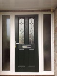 2 Panel 2 Arch Crystal Diamond Composite Front Door in Black with Two Side Panels
