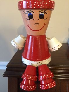 Berry Red and White Flower Pot People /Pot by RusticMtnGirlCrafts