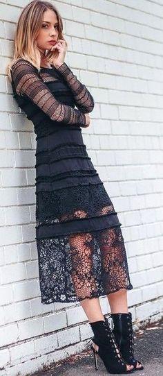 #summer #boho #chic #style | Black Lace + Black Leather