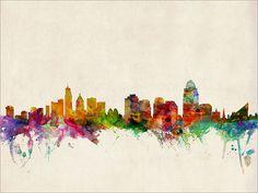 Cincinnati Skyline Art Print 12x16 up to 24x36 inch by artPause