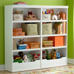 With two adjustable shelves and a roomy storage bin at the base, Land of Nod's Flat Top Bookcase organizes kids toys and books ideally. Toy Shelves, Bookshelf Storage, Bookshelves Kids, Kids Storage, Toy Storage, Bedroom Storage, Basement Storage, Cubbies, Playroom Organization