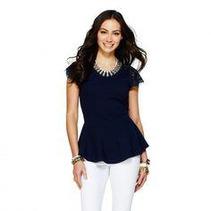 C. Wonder Navy Lace Sleeve Peplum Top Size S #CWonder #KnitTop