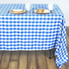 "70"" Square Blue & White Checkered Wholesale Gingham Polyester Linen Picnic Restaurant Dinner Tablecloth"