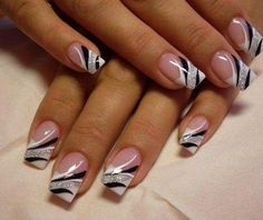 Standard white tip French manicure with black white silver glitter stripes freehand nail art