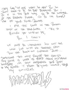 You'll Go 'Psycho' Over These Fall Out Boy Handwritten Lyrics from Pete Wentz | MetroLyrics | Immortals
