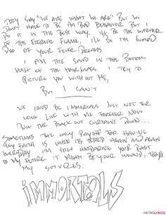 You'll Go 'Psycho' Over These Fall Out Boy Handwritten Lyrics from Pete Wentz | MetroLyrics