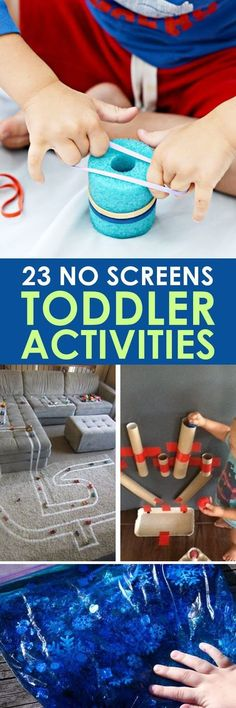Toddler Led Activites without Screens! TODDLER ACTIVITIES: These 23 toddler led activities will give you a little break without leaving that guilty feeling that comes with just handing them a screen!TODDLER ACTIVITIES: These 23 toddler led activities will Toddler Play, Toddler Learning, Baby Play, Toddler Crafts, Crafts For Kids, Toddler Games, Crafts With Toddlers, Sensory Play For Babies, Toddler Puzzles
