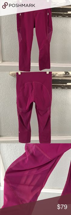 Lululemon 🍋longer MESH crops NO OFFERS Great preowned condition. Worn1x mesh paneling, beautiful magenta pink color lululemon athletica Pants