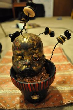 Victorian Baby Head with Button Flowers
