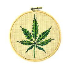 Pot Leaf Cross Stitch by CarolineEstelleArt on Etsy