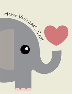 happy elephant animals wildlife hearts elephant whimsical happy little elephant blowing bubbles and hearts perfect for an elep - Elephant Valentine