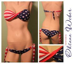 American flag bikini JUST BOTTOM. $25.00, via Etsy.