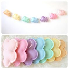We've got spring in our heads with this pastel rainbow cloud garland! We've got spring in our heads with this pastel rainbow cloud garland! Pastel Nursery, Pastel Room, Rainbow Nursery Decor, Ocean Nursery, Baby Crafts, Felt Crafts, Diy And Crafts, Girl Room, Baby Room