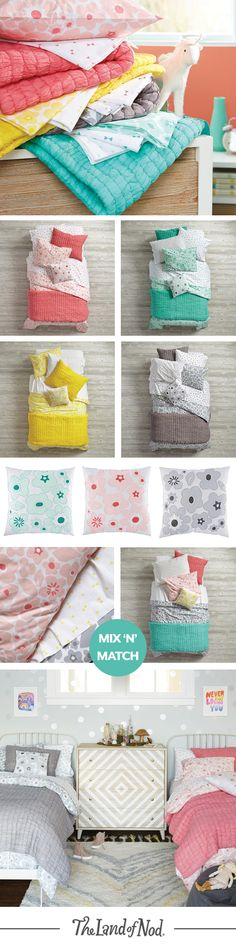 Freshly picked kids bedding is just what your girl's bedroom needs. The Go Lightly bedding collection is made from super soft 100% cotton and features floral prints in refreshing hues. Choose from 4 versatile colors—then mix and match! Plus, a throw pillow and quilt will add an extra dose of style.