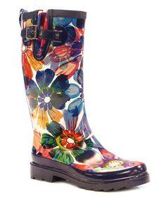 Loving this Navy Flora Glass Rain Boot - Women on #zulily! #zulilyfinds