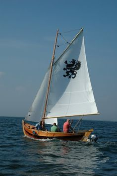 """Sailing Pomeranka, with a Griffin (Gryf - Polish) in the mainsail. It became the symbol of Pomorze (in Polish, literally """"by the sea""""), or Pomerania, the region of land on the southern border of the Baltic Sea and the homeland of the Kashubs, long, long ago."""