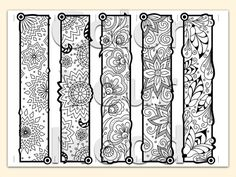 Printable & coloring zendoodle art bookmarks. A fun coloring page to download, print and color as many times as you like. Abstract and flowers -