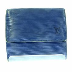 Vintage 100% Authentic Louis Vuitton Small Blue Epi Leather Wallet/Billfold 2