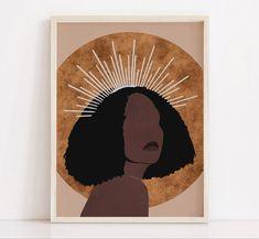 Black Woman Art African Woman Art Instant Download Boho Decor Mid Century Modern Style Girl Magic