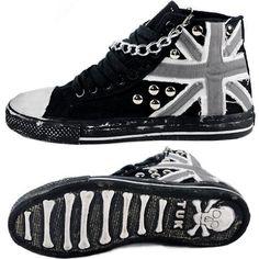 Men Black Canvas Denim Studded Skeleton Punk Rock High Tops Boots SKU-1280384