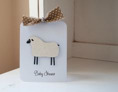 Sheep Lamb Baby Shower Invitations Neutral Thank You Notes Brown and White Polka Dots Kraft Rustic VIntage by CardinalBoutique on Etsy