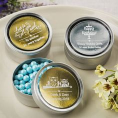 Offer your guests fine chocolates, fun candy and handmade treats in luxurious silver mint tins! They are certain to class up your grand occasion!