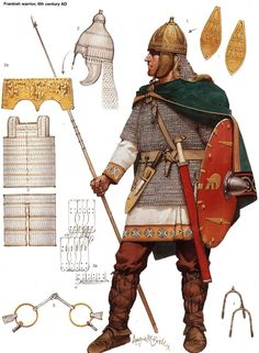 """""""The lamellar and helm show a strong Sarmatian influence. The gold repousse helm decoration is actually Visigothic. But the Franks were an amalgamous lot.""""  Art by Angus MacBride"""