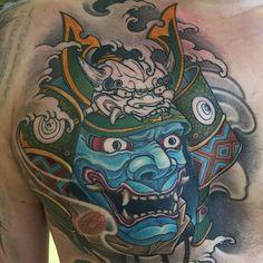 Little progress. #oni #samurai #maximtitanic #madfishtattoo #japaneseart…