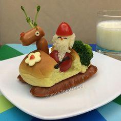 Santa, breakfast, lunch, food art