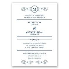 Just Your Type Wedding Invitation Text, Playbill style w/Initial at Invitations By Dawn
