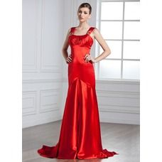 [US$ 119.99] Empire Scoop Neck Watteau Train Charmeuse Evening Dress With Ruffle Beading (017002272)