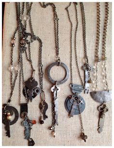 Vintage key necklaces by LjBlock Designs