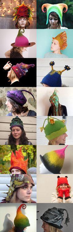 crazy felt hats :D by Ewa Halama-Jaszewska on Etsy--Pinned with TreasuryPin.com