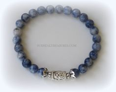 SODALITE 6  Stretch Bracelet   Sterling silver by SurrealTreasures