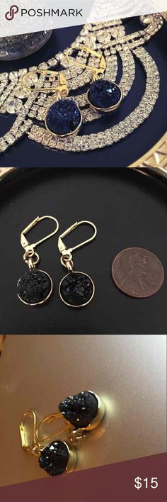 ⚡️flash sale! ⚡️Black Natural Stone Druzy Earrings These are a pair of black, handmade, natural stone druzy earrings. Never worn! Also available in blue! Jewelry Earrings